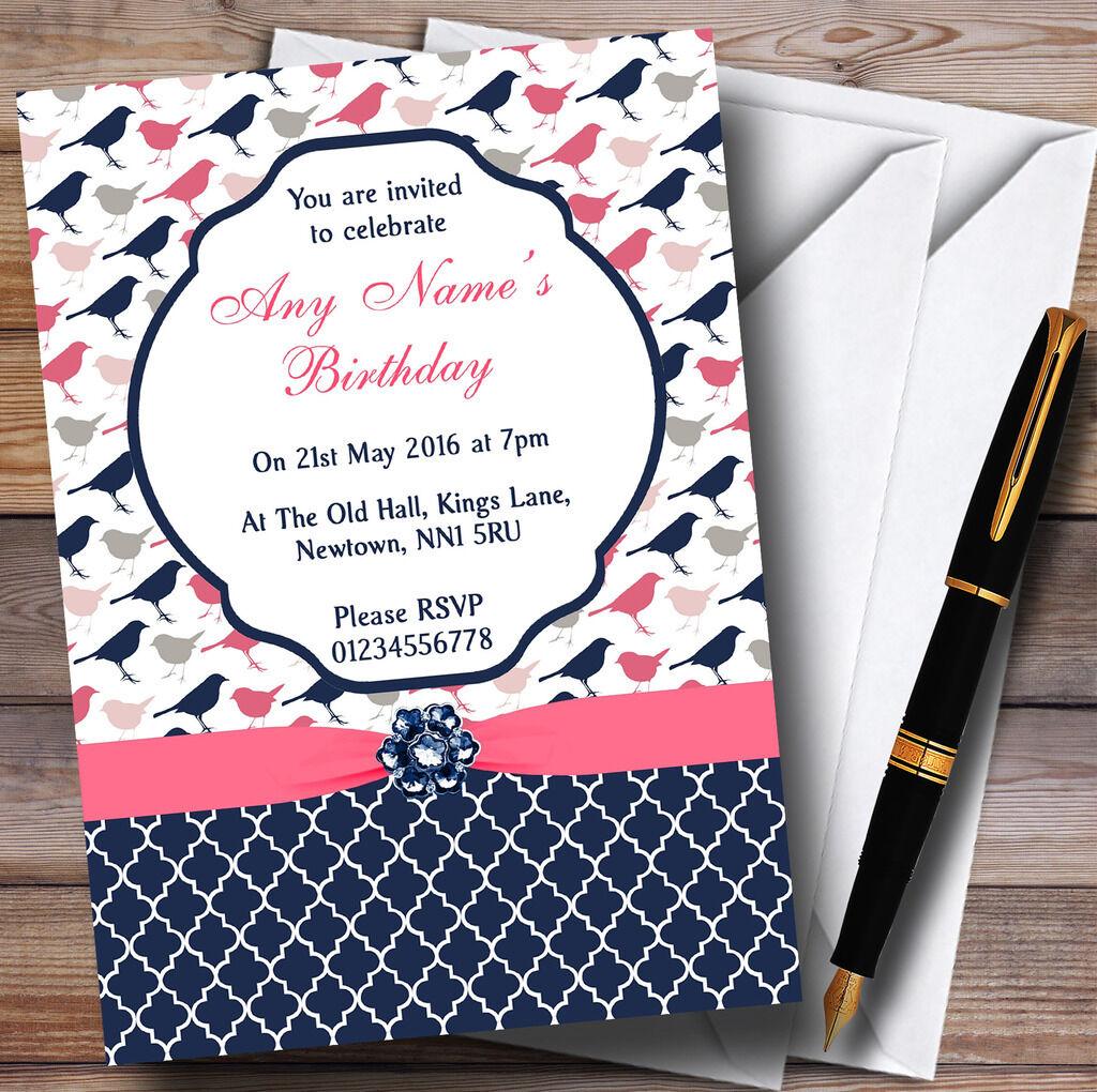 Bleu marine & Fête rose corail shabby chic oiseaux Personnalisé Fête & D'Anniversaire invitations 490295