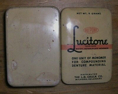 Vtg Tin Dental Denture Monomer Compound Dupont Lucitone Metal Dentist Delaware