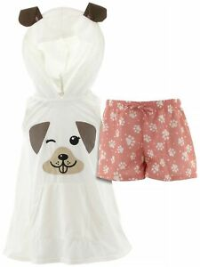 dELiA-s-Girls-Puppy-Ivory-Coral-Character-Face-Hooded-Short-Sleeveless-Pajamas