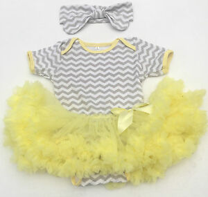 d96d94a1b97 ZIGZAG Yellow Grey BABY GIRL TUTU ROMPER Princess Cute Baby Shower ...