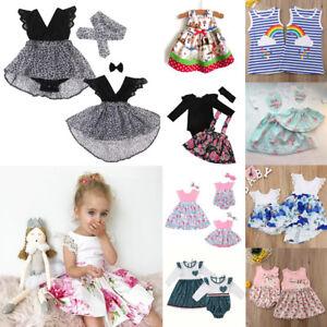 3852ea983d43 UK Kids Baby Girl Sister Matching Romper Dress Clothes Floral Dress ...
