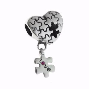 Image Is Loading Sterling Silver Autism Awareness Jigsaw Cz Dangle For