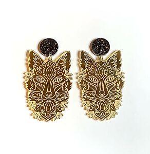 Wolf-Earrings-Surgical-Steel-Studs-Gold-Mirror-Acrylic-Statement-Earrings