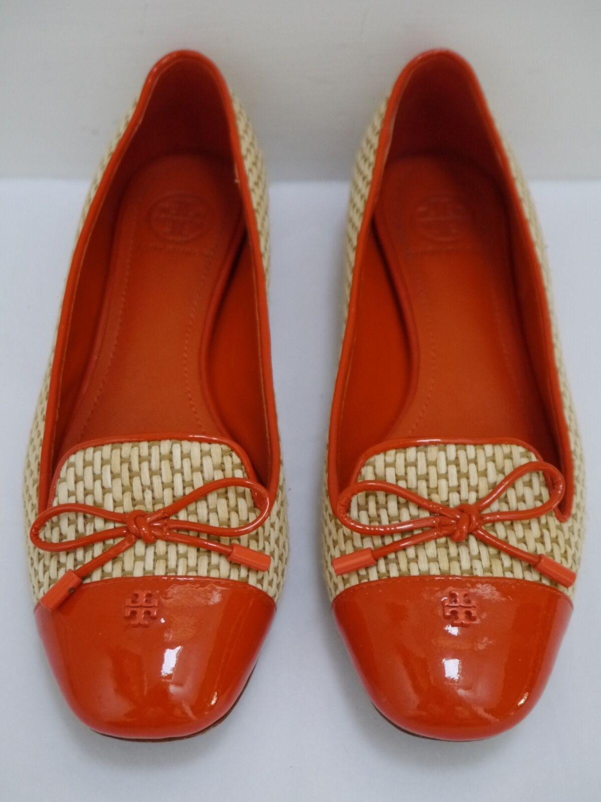 TORY BURCH Catherine orange patent with raffia smoking slippers flats Scarpe 6.5