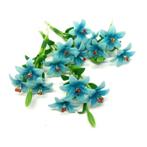 Dollhouse Miniature Flower Set 5 Blue Lilly Clay Plant Handcraft Indoor Garden