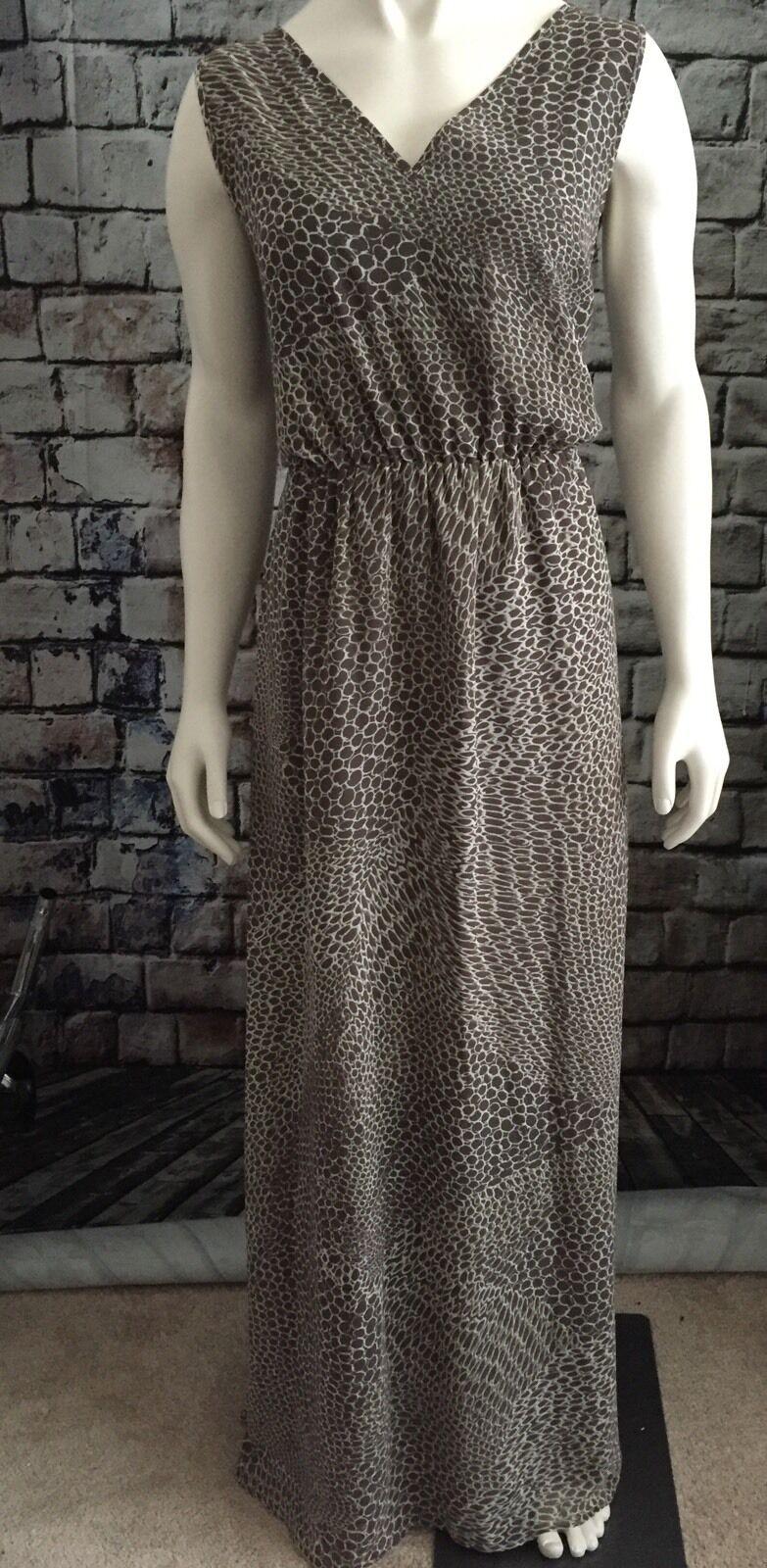 Banana Republic Dress Woherren Ladies BR V Neck Maxi Lined SZ 14 braun