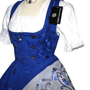 Blue Dirndl German Dress Women Oktoberfest Waitress Party Holiday EMBROIDERY 3pc