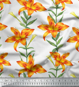 Soimoi-Fabric-Leaves-amp-Lily-Floral-Print-Fabric-by-the-Yard-FL-900