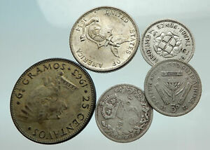 GROUP-LOT-of-5-Old-SILVER-Europe-or-Other-WORLD-Coins-for-your-COLLECTION-i75642