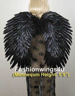 Duo Use BLACK feather wings pointing up or down Swan Raven Crow Cosplay Costume