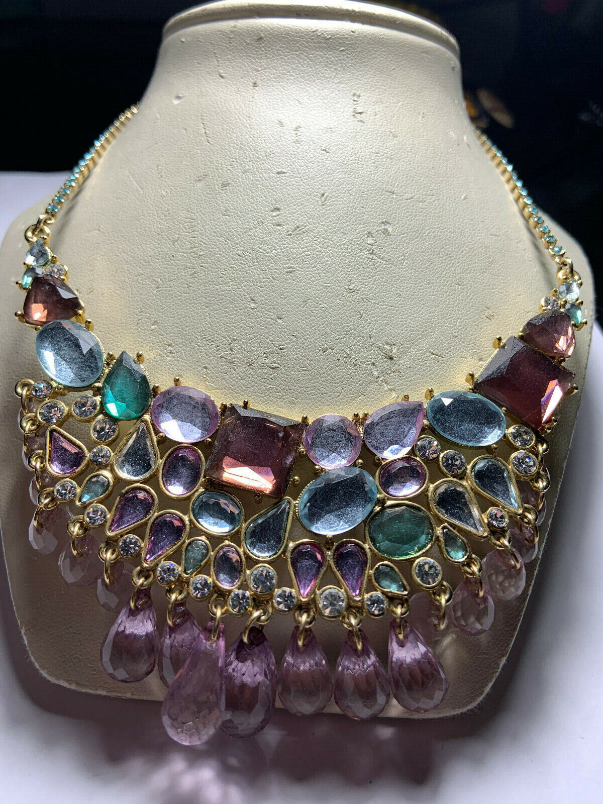 Vintage Arnold Scaasi gold tone multicolored hang… - image 3