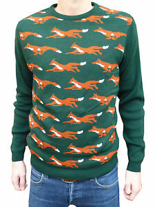 Vintage Retrò Indie Maglione Kitsch Natale Caccia Country Volpe Verde Nuovo qxApwCtO