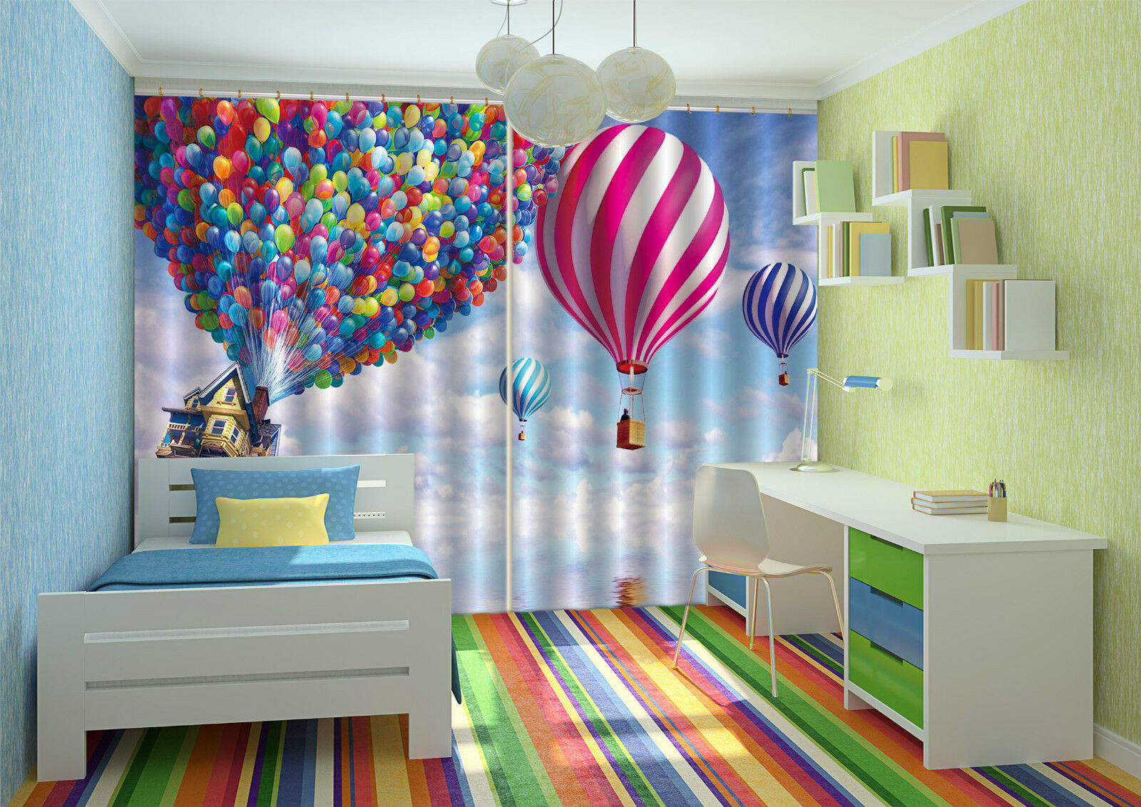 3d Color globo 438 bloqueo foto cortina cortina de impresión sustancia cortinas de ventana