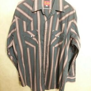 Ely-Plains-Mens-Vtg-Western-Shirt-Pearl-Snap-L-S-Multi-Color-Striped-Sz-L