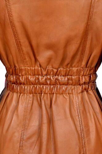 Ladies Leather Jacket Tan Mid-Length Fur Collar SYLVIA 100/% REAL NAPA COAT ALICE