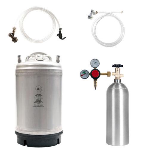 SHIPS FREE 5 lb CO2 Tank Keg Kit: 3 Gal Ball Lock Beer Keg Regulator /& Parts