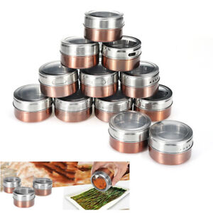 12pcs Clear Magnetic Spice Tins Stainless Steel Storage Container Jars Lid 6.