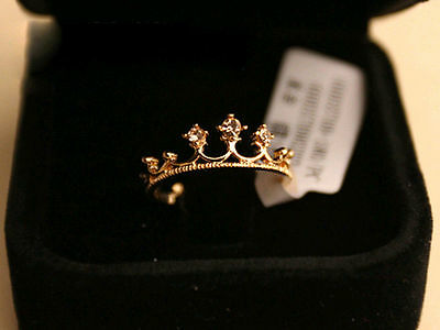 New 8K Gold Crystal Rhinestone Crown Finger Ring Royalty Princess Gold Plated