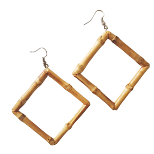 1 Pair Fresh Natural Bamboo Round Diamond Hook Earrings Boho Hippy Festival