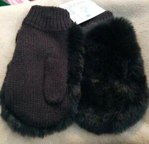 OSFM Girls Young Girls Black Faux Fur Mittens More Than Magic NEW
