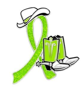 Lyme Disease Pin Lime Green Cowboy Western Boots Hat Gl
