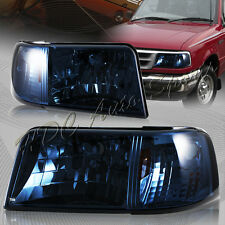For 1993-1997 Ford Ranger Smoke Lens 2-in-1 Head Lights+Amber Reflector Lamps