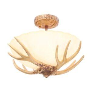 Details About Ceiling Light Fixture Lighting Semi Flush Mount Gl Shade Deer Antler Lamp