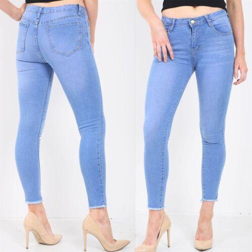 Donna Plain scolorito Piena Lunghezza Alla Caviglia Pantaloni Slim Skinny Fit Denim Jeans