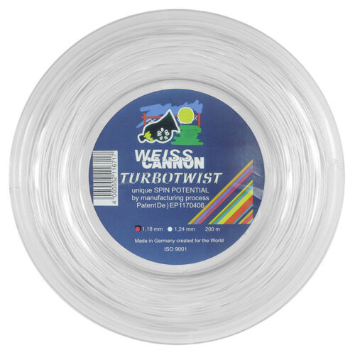 Weiss Cannon TurboTwist 17L 1.18mm white 660ft 200m Tennis String Reel
