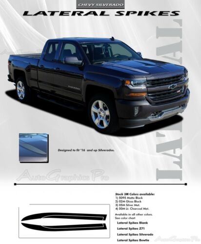 2016-2018 Chevy Silverado Vinyl Graphic Kit Hood Spike Spear Stripe 3M Decal LAT