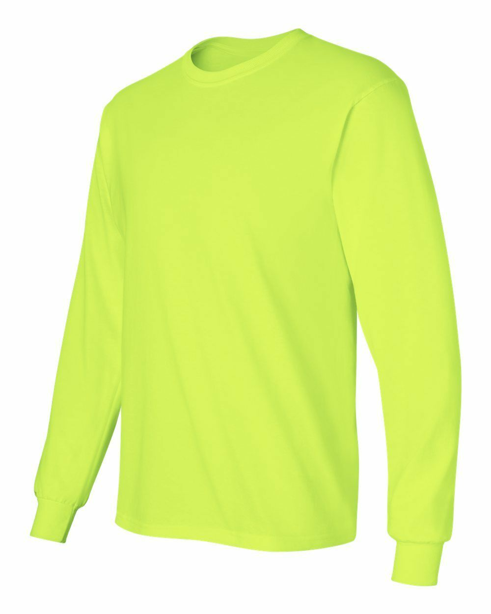 3 Gildan Long Sleeve SAFETY GREEN Adult High Visibility T-Shirts Sizes  S-5XL