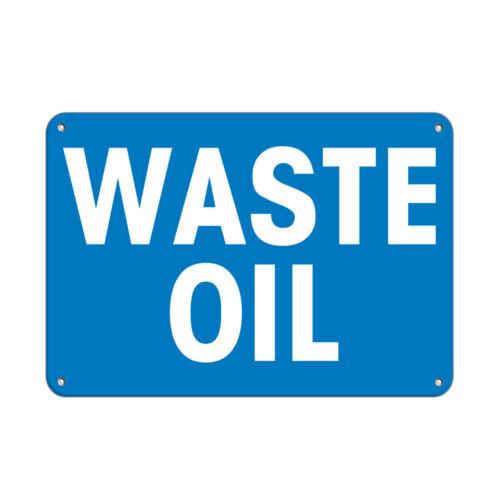 Horizontal Metal Sign Multiple Sizes Waste Oil Blue Background Hazard
