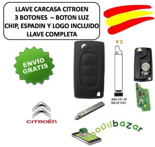 LLAVE CARCASA CITROEN C2 C3 C4 C5 C6 V2 VA2 VA6 LUZ CHIP ID46 433MHZ 3 BOTONES