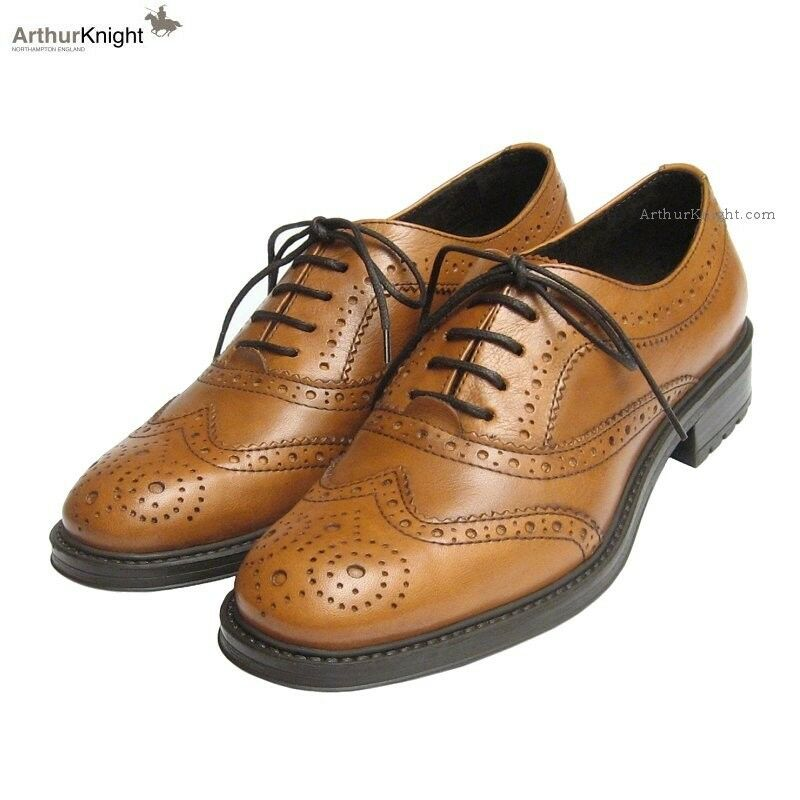 NEW Ladies Tan Country Brogues 9 Euro 42 Womens Italian Leather Rubber Sole