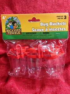 Kids Backyard Travels Bug Insect Storage Containers -3 Piece w/ Removable Clip