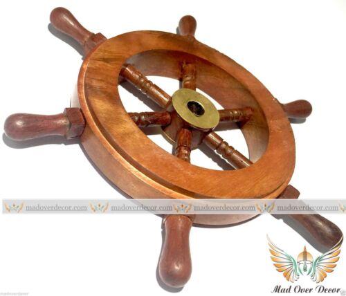 "6/"" Wood Brass Ship Wheel Nautical Maritime Decor Captain Pirate Mad Over Decor"