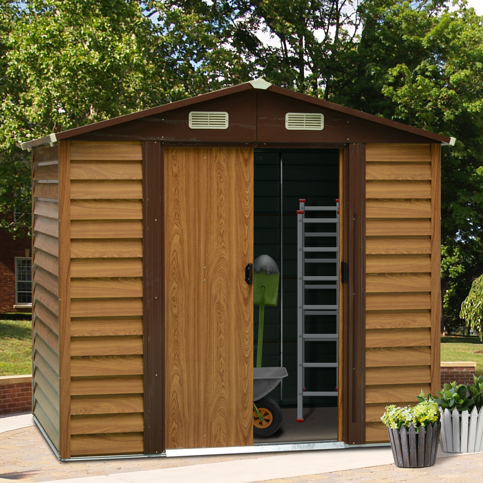 Outsunny 8 x 6FT Metal Garden Shed Wood Effect Woodgrain Storage