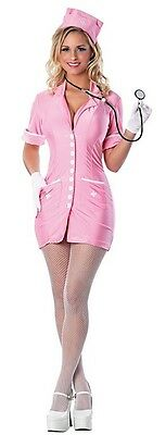 Hopsital Hottie Pink Nurse Doctor Fancy Dress Up Halloween Sexy Adult Costume