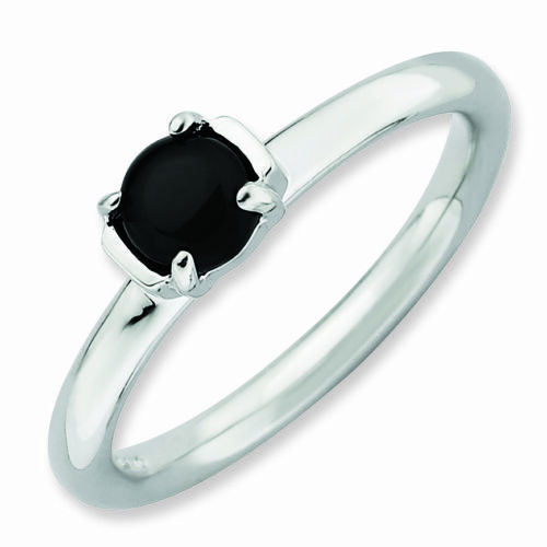 Sterling Silver Natural Black Agate Stone Ring Fashion Jewelry QSK622