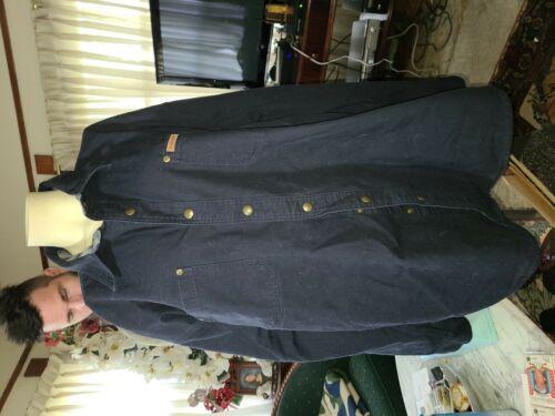 2X Carhartt NAVY BLUE CHORE Jacket FLANNEL LINED