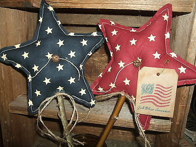Primitive Pair (2) Patriotic Americana STARS Homespun Pokes Ornies Folk Art