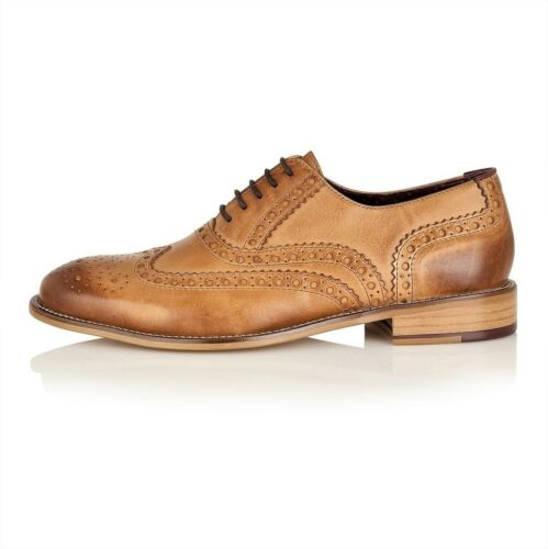 London Brogues Gatsby Brown Lace Up Brogues Mens Leather Shoes Sizes 7 to 12
