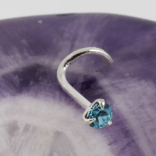 Curved Nose Stud Screw Sterling Silver Round Claw Set Aquamarine Crystal 0.8mm