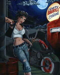 Motorcycle-Pinup-Girl-Empty-Barrel-Man-Cave-DECOR-Sign-Bar-8X10-Glossy-Photo-Pic