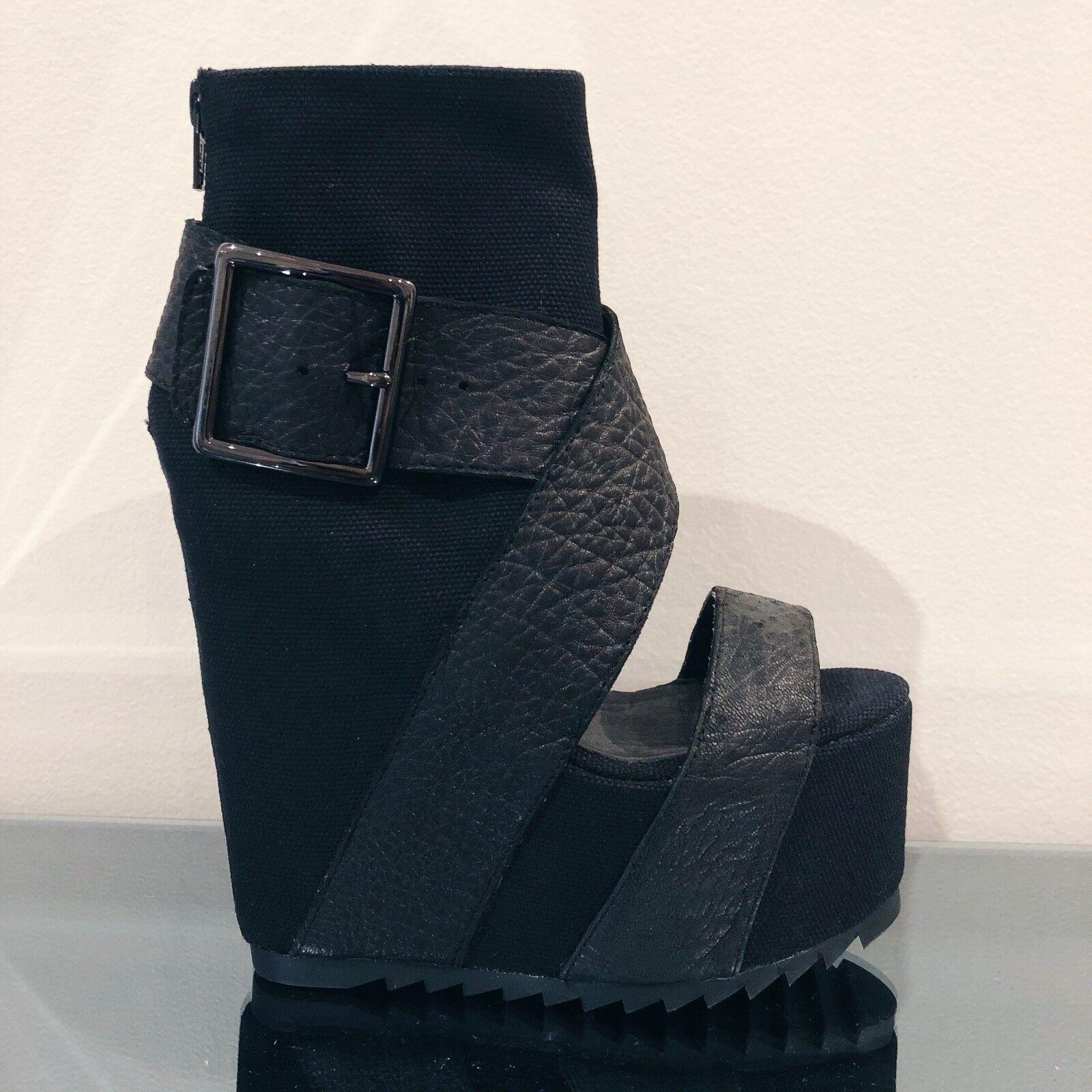 Sí Fluorita Fluorita Fluorita plataforma al tobillo negro recorte Puntera Abierta Correa De Cuero botas Tacones 5  calidad de primera clase