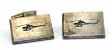 "BIG Vintage 1950s Modernist HELICOPTER Sterling Silver Cufflinks 1""+ by .75"""