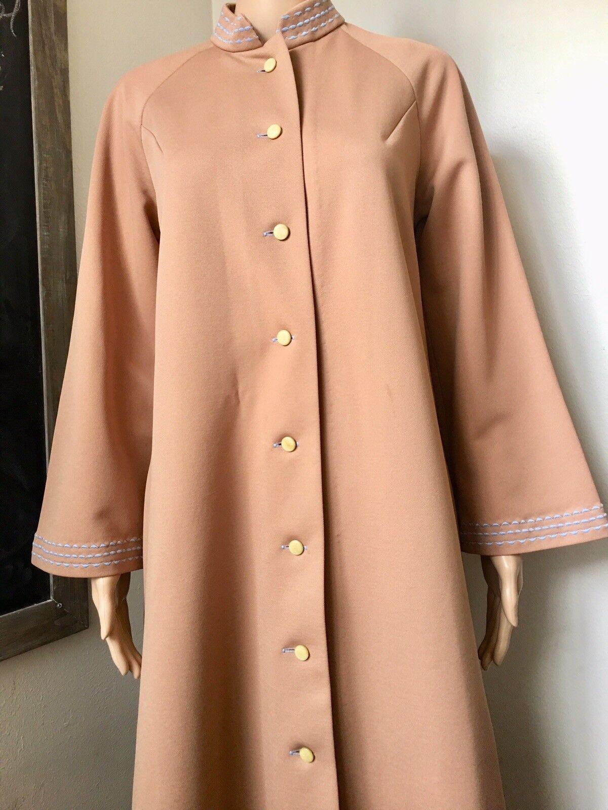 Vintage Floor Length Dress Coat Camel Embroidered Button Down Costume Unlabeled