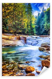 Postereck-Poster-1493-Fluss-Wald-Natur-Landschaft-Wasserfall-Steine-Sonne