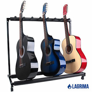 multiple 7 holder folding guitar stand rack band stage bass electric acoustic ebay. Black Bedroom Furniture Sets. Home Design Ideas