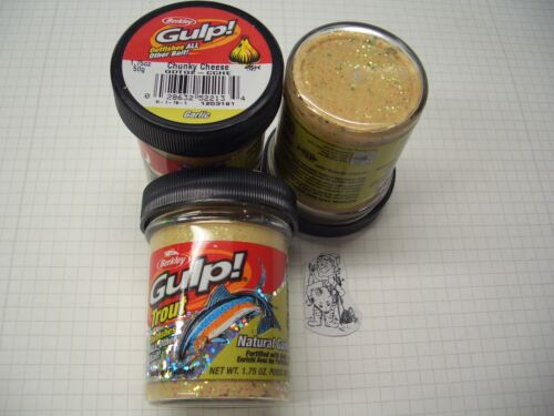 Berkley Power Bait Trout Bait Glitter Gulp Chunky Cheese 3x50g-Glas 100g//6,66€